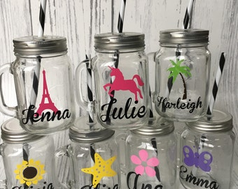 Personalized Glass Mason Jar Tumbler Custom Bachelorette Party Cup Tumblers