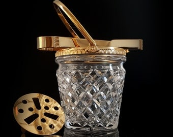 Vintage Cut Lead Crystal Ice Bucket, Ice Container, Wine Cooler, 24-Carat-Gold Plated Handle / Mid Century German Barware