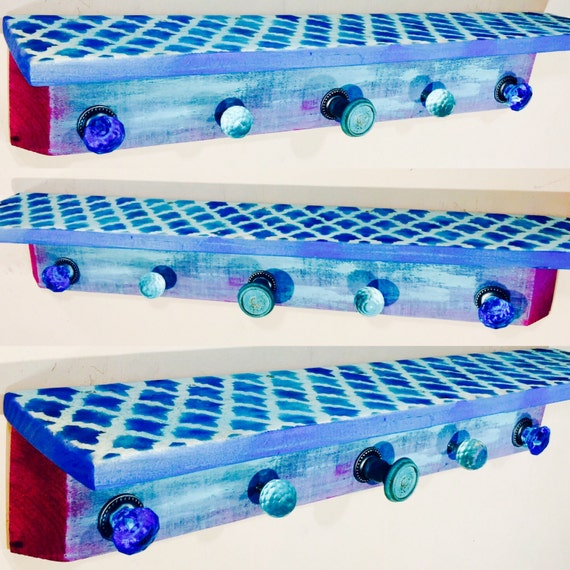 Geometric shelf /floating nightstand/ wall hanging vanity / pallet wood shelves /wooden shelving / bedroom morrocan decor 5 blue glass knobs