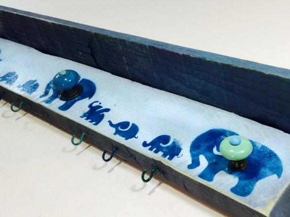 Woodland Nursery decor /elephant wall art /baby boy shower gift /pallet wood shelf organizer elephants 6 blue hooks 3 hand-painted knobs