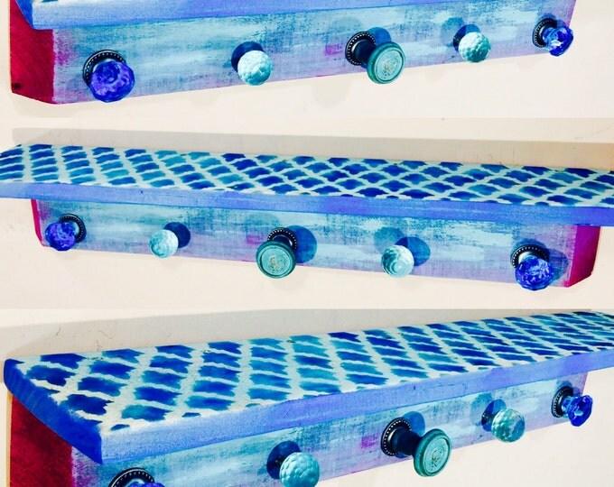 Geometric shelf /floating nightstand/ wall hanging vanity / pallet wood shelves /wooden shelving / bedroom morrocan decor 5 blue glass knobs