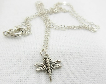 "Dragonfly Necklace, Sterling Silver, Silver Dragonfly, Silver Chain, 16"" Necklace, Dragonfly Jewelry, Vintage Jewelry, Dragonfly Pendant #37"
