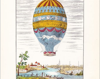 Vintage Balloon Print hot air balloon transport Montgolfier air travel 7 x 9.25 inches