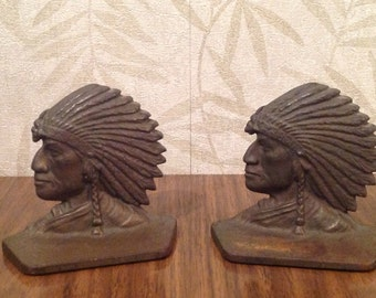 Vintage Native American bookends, cast iron Native American bookends, American Indian cast iron bookends, American Chief in headress