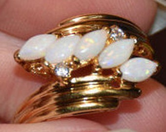 Goldtone faux opal and rhinestone ring - Ladies Size 9