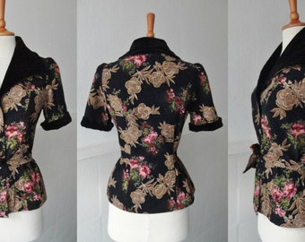 70s Vintage Corduroy And Velvet Top // Big Collar // Black With Pink Beige and Green Flower Print