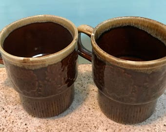 Vintage 1960s Japan Brown Drip Coffee Cups (Set of 2)