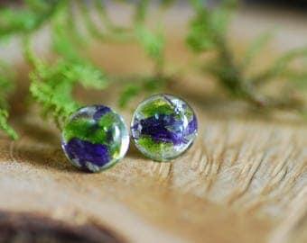 Nature Stud Earrings, Terrarium Moss Earrings, Flower Tiny Studs, Silver Flakes Earrings, Pressed Flower Earrings, Gift for her, Fairy Studs
