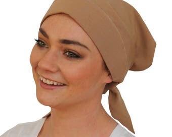 Gabrielle Pre-Tied Head Scarf -Women's Cancer Headwear, Chemo Scarf, Alopecia Hat, Head Wrap,  Head Cover for Hair Loss - Khaki