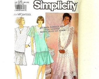 Simplicity Misses Dropped Waistline Dress Sewing Pattern #7056 - Sizes 16+18+20+22 (Cut at Size 22) - Prom, Homecoming, Bridal