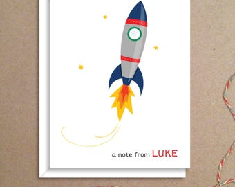 Rocket Note Cards - Folded Note Cards - Personalized Stationery - Personalized Thank You Notes - Illustrated Note Cards