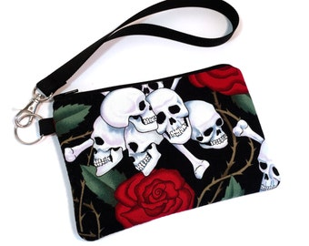 Wristlet, Skull and Roses, Goth Purse, Womens Wallet, Gothic Bag, Clutch Purse, Clutch Wallet, Cell Phone Wallet, iPhone 7 Wallet, iPhone 6