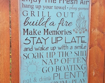 """Personalized Carved Wooden Sign - """"LAKE HOUSE - RULES"""""""