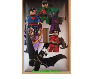 Lego Superhero Characters Toggle, Rocker Light Switch & Power Duplex Outlet Cover plate Home Decor