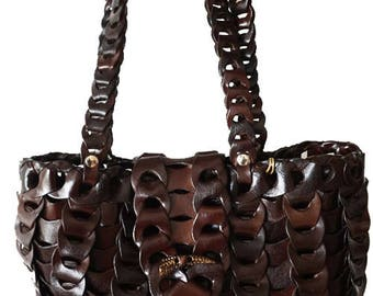 Bag in genuine vegetable tanned leather