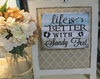 "Wood Beach Sign, ""Life is Better With Sandy Feet"", Beach House Decor,Beach Lover Gift"