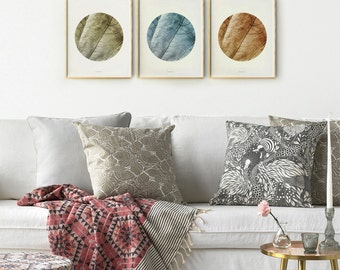 Nature photography prints Set of 3 wall art Living room art prints, Neutral wall art collection Circle posters, Home Office wall prints set