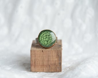 Nature ring, adjustable size green gem ring, hand painted unique rings for her, wood and resin jewelry, MyPieceOfWood