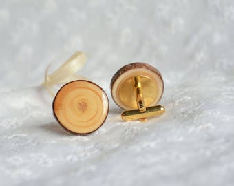 Rustic handmade wooden cuff links, wood cuff links, wedding cufflinks, eco wood anniversary gift  for him, woodland wedding accessories