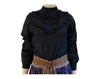 BOHO long sleeves RUFFLE vintage   inspired BLOUSE by Laura Vanvolsem //size eu 36 - uk 8 - us 4