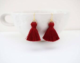 Dark Red Maroon and Gold Chunky Tassel Earrings