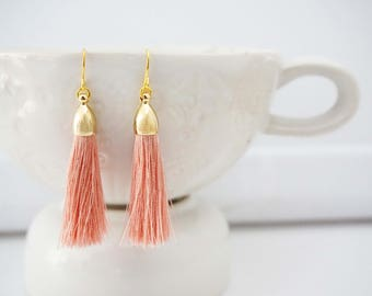 Peach Blush and Gold Tassel Earrings
