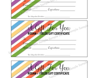 Rodan + Fields Gift Certificate - Printable - Immediate Download - Gift For You