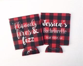 Flannels, Fires and Fizz Buffalo Plaid Bachelorette/Wedding Beverage Insualtor/Hugger