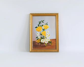 Vintage yellow roses painting, still flowers painting, yellow and white framed painting, flowers acrylic painting, retro wall art decor