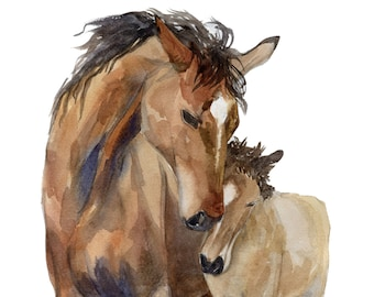 Cuddle- Mom and baby horses, giclee Print of original watercolor painting, nursery art, wall art, Horse