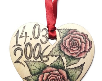Rose flower home decoration, Unique hand drawn wooden heart gift, Valentines / Anniversary / Birthday message with custom personalised date