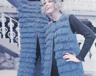 Vintage crochet PDF pattern looped coat crocheted coat jacket pdf INSTANT download pattern only with without sleeves loopy