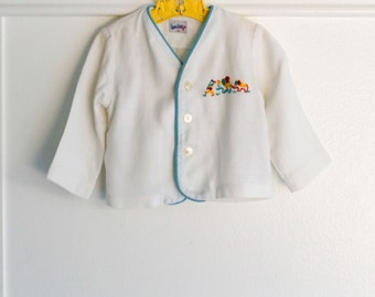 12-18 months:  Embroidered Linen Baby Jacket, White with Circus Elephant embroidery and blue trim, by MrMaster by Danny Dare