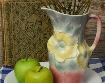 VINTAGE PAINTED PITCHER. Pastel flowers pitcher by Royal Copley