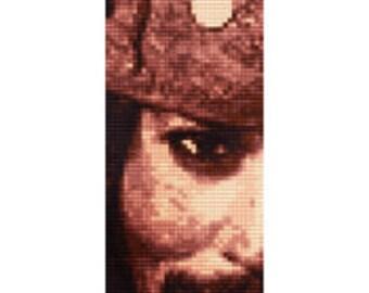 Jack Sparrow Cross Stitch Bookmark Pattern, Johnny Depp, Pirates, Photo Realistic, Counted Cross Stitch, PDF, Instant Download, Monochrome