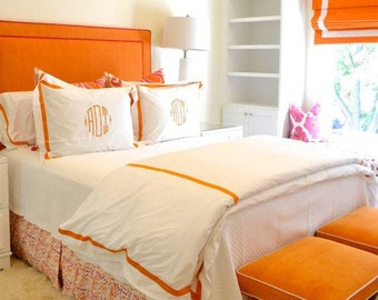 """Roman Shade """"Bright Orange with White Border"""" with chain mechanism, Linen Roman shade with polycotton  lining, custom made"""