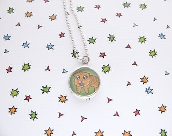 Tiger Necklace, Cute Big Cat Pendant, Nature Accessories, Tiger Jewelry, Funny Wildlife, Cat Lover Gift