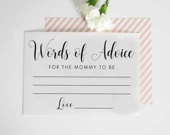 Mommy Advice cards printable - Advice for the new mommy - Mommy to be - Advice cards Instant Download