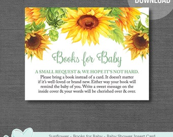 Sunflowers Books For Baby Insert Card Printable, Baby Shower Game, Instant Download, Book Request, Yellow, Green, Bring a Book, 1A