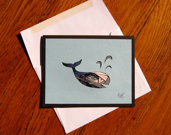 Homemade Iris Fold Spouting Grey Whale Note Card, Blank All Occasion - with Whale Image Made of Colorful Repurposed Materials