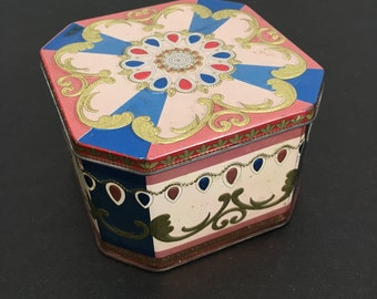 Vintage Tin Canister. Made in England. Trinket Box.