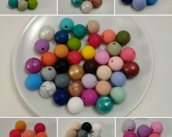 2 New colors added! Lot of 50 (12 mm) Silicone Beads-Now 37 colors available! You choose your colors