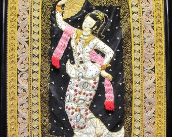 Antique Framed Burmese Tapestry of Woman Dancing with Fan