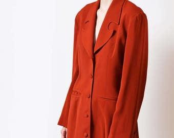 1980s Faust Rust Blazer Dress with Curved Lapel 80s Vintage Suit Dress S M