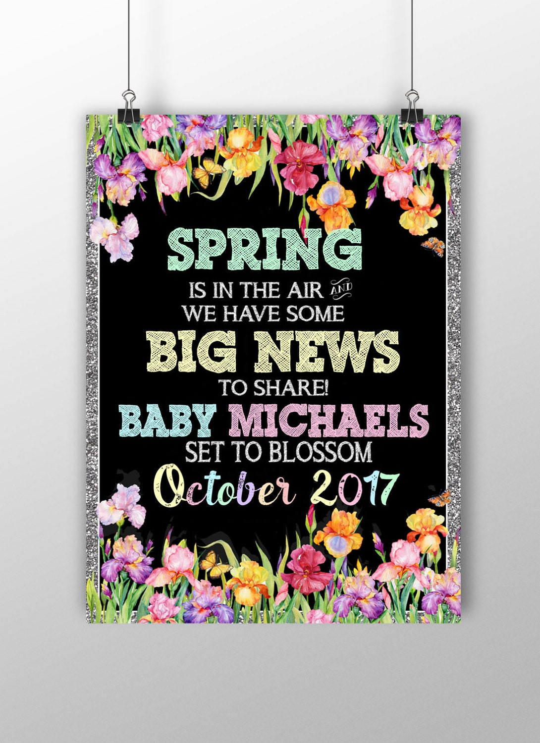 spring pregnancy announcement flower pregnancy announcement