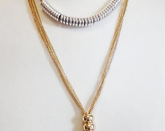 Gold  Chain Tassel Long Necklace with Silver Circles /Gold Tassel Necklace.