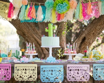 Mexican Fiesta Birthday Banners, Papel Picado, Cinco de Mayo, Fiesta Decorations, First Fiesta, Mexican Wedding,