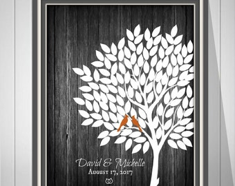 Rustic Wedding Tree Signature Guest Book Alternative, Rustic Wedding Tree Guest Book, Vintage Wedding Guestbook, Wood Print  - 60677B
