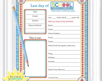 """First and Last Day """"SCHOOL MEMORY PAGES"""" in red, white and blue,  Keepsake, Memory or journal pages, Scrapbooking, diy Printable"""