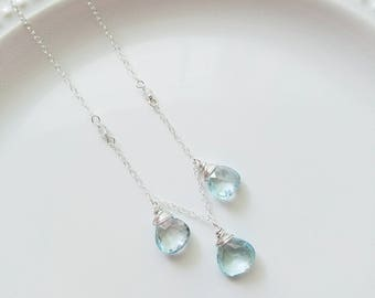 Blue Topaz Necklace, Sterling Silver Necklace, Light Blue Topaz Necklace, topaz Pendant, Birthstone Necklace, Moonstone Necklace